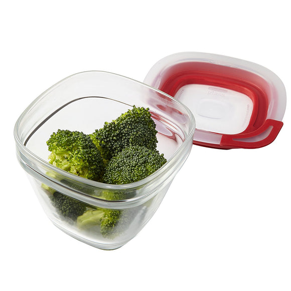 Rubbermaid 1-1/2-Cup Glass Food Storage Container with Easy Find Lid