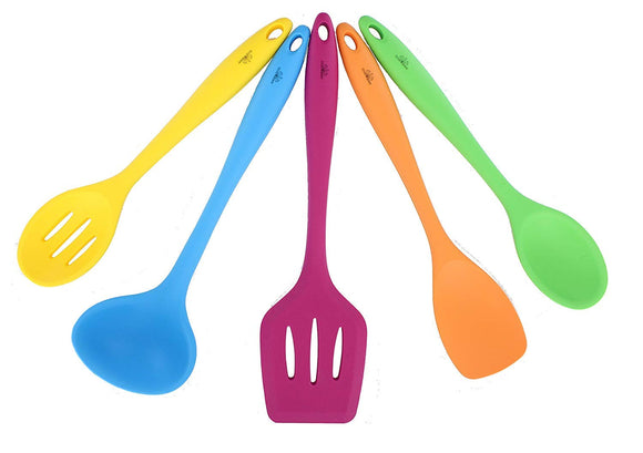 Seacoast Silicone Kitchen Utensils 5 Piece Set, Assorted Colors