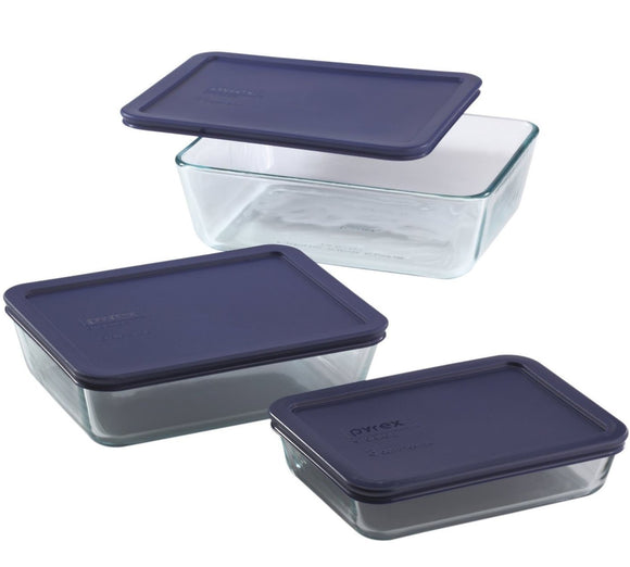 Pyrex Rectangular Clear-Glass Food-Storage Containers with Blue Plastic Lids, Set of - 3-cup, 6-cup & 11-cup