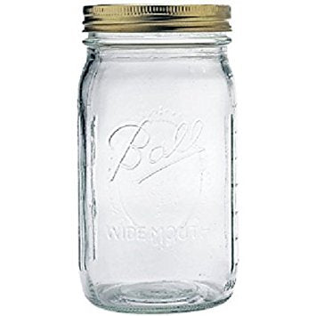 Ball 32 Oz, Wide Mouth Mason Jar with Copper Lid (1 Quart)