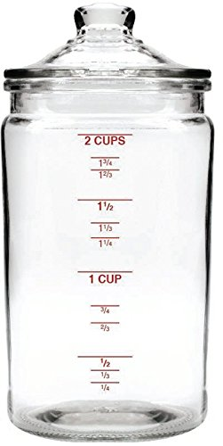 Anchor Hocking 16 Oz Heritage Hill Graduated Storage Jar w/ Glass Lid