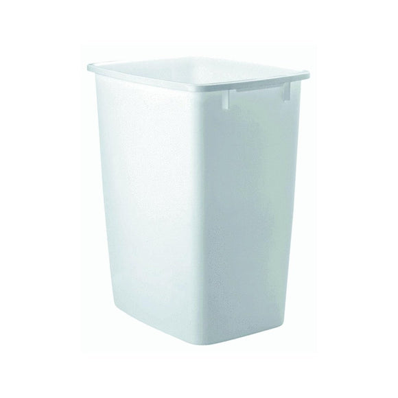 Rubbermaid Wastebasket, Rectangular, Plastic, 9 gal, White