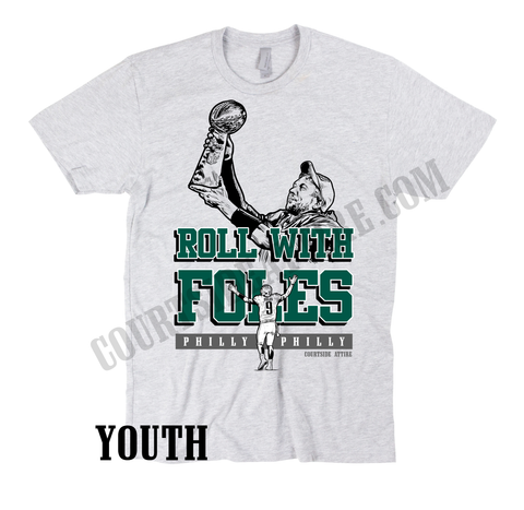 0c96b346459 Kids Nick Foles ROLL WITH FOLES philly philly youth shirt jersey