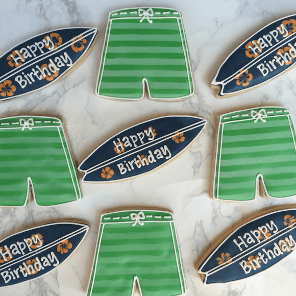 Custom Cookies - Happy Birthday | Surf's Up Boys! - Southern Sugar Bakery