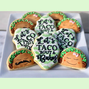 Custom Cookies - Let's Taco 'Bout A Baby! - Southern Sugar Bakery