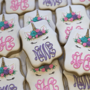 Custom Cookies - Magical Unicorn Monograms! - Southern Sugar Bakery