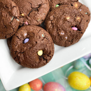 Custom Cookies - Easter Cookies | Triple Chocolate Brownie w/ Pastel Candies - Southern Sugar Bakery