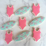 Custom Cookies - Happy Birthday | Surf's Up Girls! - Southern Sugar Bakery