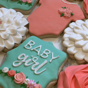 Custom Cookies - Baby Announcement Cookies | Pretty As A Flower! - Southern Sugar Bakery