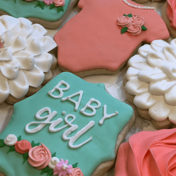 Baby Announcement Cookies | Pretty As A Flower! - Southern Sugar Bakery