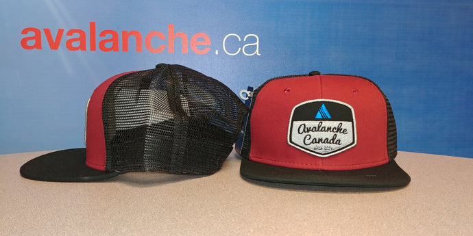 AvCan Cap - Crimson & Black Trucker Style-mesh back