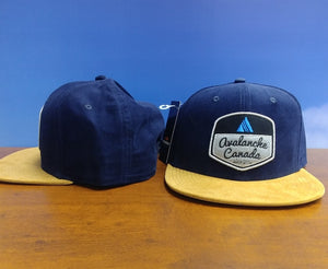 AvCan Cap - Blue Corduroy with Tan Suede Visor Trucker Style
