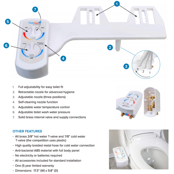 Brondell FreshSpa Dual Bidet Attachment