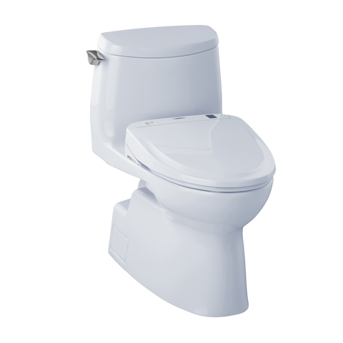 TOTO® Connect+® Kit Carlyle® II 1G® One-Piece Elongated 1.0 GPF Toilet and Washlet® S300e Bidet Seat, Cotton White - MW614574CUFG#01