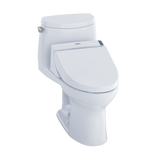TOTO® Connect+® Kit UltraMax® II 1G® One-Piece Elongated 1.0 GPF Toilet and Washlet® C200 Bidet Seat, Cotton White - MW6042044CUFG#01