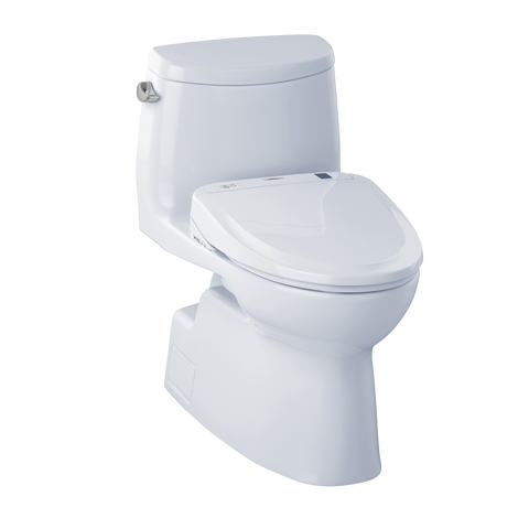 TOTO® Connect+® Kit Carlyle® II One-Piece Elongated 1.28 GPF Toilet and Washlet® S350e Bidet Seat, Cotton White - MW614584CEFG#01