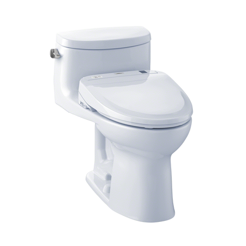 TOTO® Connect+® Kit Supreme® II One-Piece Elongated 1.28 GPF Toilet and Washlet® S350e Bidet Seat, Cotton White - MW634584CEFG#01