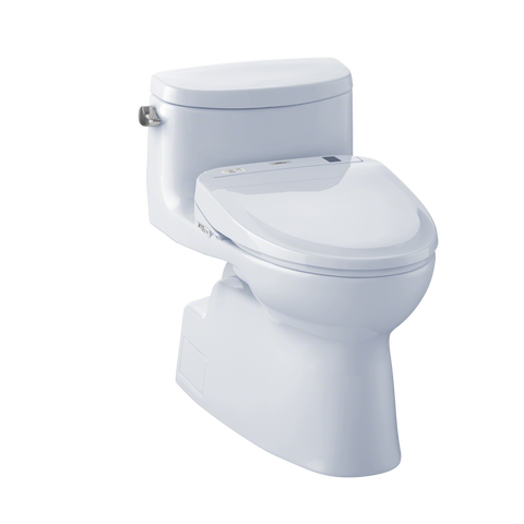 TOTO® Connect+® Kit Carolina® II One-Piece Elongated 1.28 GPF Toilet and Washlet® S350e Bidet Seat, Cotton White - MW644584CEFG#01