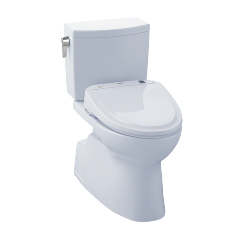 TOTO® Connect+® Kit Carlyle® II One-Piece Elongated 1.28 GPF Toilet and Washlet® C100 Bidet Seat, Cotton White - MW6142034CEFG#01