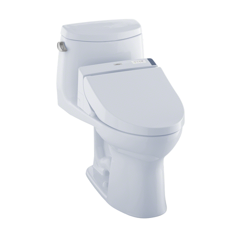 TOTO® Connect+® Kit UltraMax® II One-Piece Elongated 1.28 GPF Toilet and Washlet® C200 Bidet Seat, Cotton White - MW6042044CEFG#01