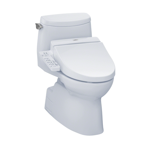 TOTO® Connect+® Kit Carlyle® II 1G® One-Piece Elongated 1.0 GPF Toilet and Washlet® C100 Bidet Seat, Cotton White - MW6142034CUFG#01