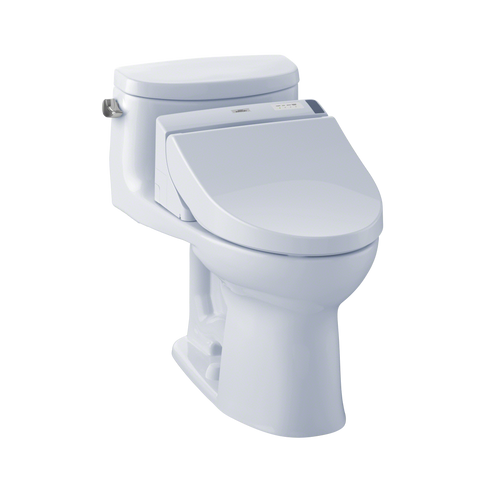 TOTO® Connect+® Kit Supreme® II One-Piece Elongated 1.28 GPF Toilet and Washlet® C200 Bidet Seat, Cotton White - MW6342044CEFG#01