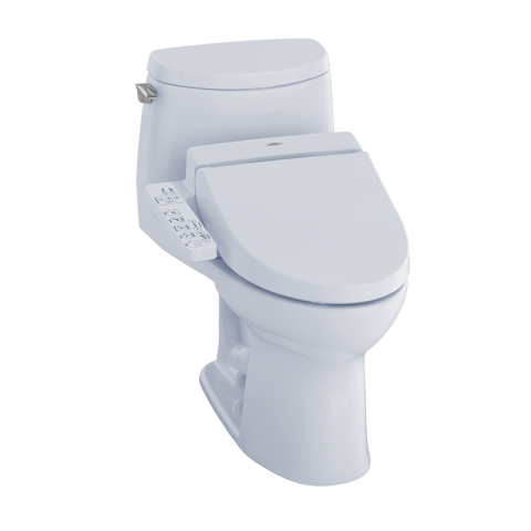 TOTO® Connect+® Kit UltraMax® II 1G® One-Piece Elongated 1.0 GPF Toilet and Washlet® C100 Bidet Seat, Cotton White - MW6042034CUFG#01