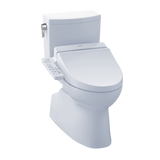 TOTO® Connect+® Kit Vespin® II 1G® Two-Piece Elongated 1.0 GPF Toilet and Washlet® C100 Bidet Seat, Cotton White - MW4742034CUFG#01