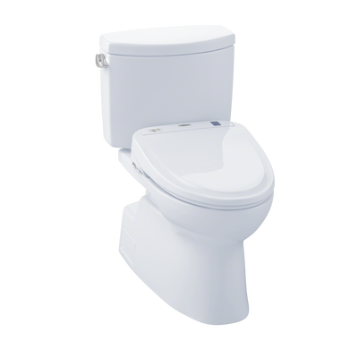 TOTO® Connect+® Kit Vespin® II Two-Piece Elongated 1.28 GPF Toilet and Washlet® S300e Bidet Seat, Cotton White - MW474574CEFG#01