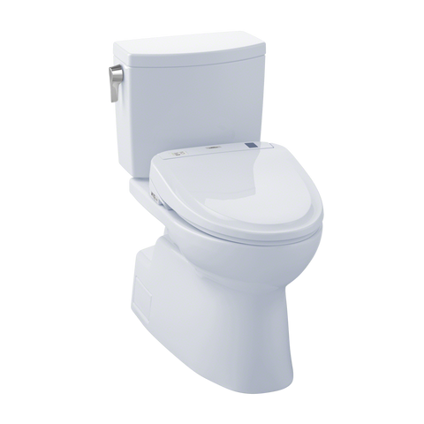 TOTO® Connect+® Kit Vespin® II 1G® Two-Piece Elongated 1.0 GPF Toilet and Washlet® S350e Bidet Seat, Cotton White - MW474584CUFG#01