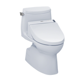 TOTO® Connect+® Kit Carlyle® II 1G® One-Piece Elongated 1.0 GPF Toilet and Washlet® C200 Bidet Seat, Cotton White - MW6142044CUFG#01