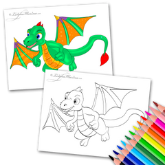 Green Dragon Coloring Page