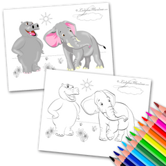 Hippo and an Elephant Coloring Page