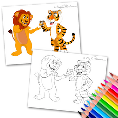Lion and a Tiger Coloring PAge