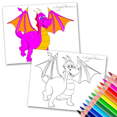 Pink Dragon Coloring Page