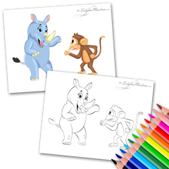 Rhino and a Monkey Coloring Page
