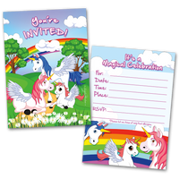 20 Kids Party Invitation Cards Unicorns and Rainbows and 20 Envelopes