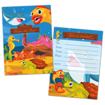20 Kids Party Invitation Cards Under the Sea and 20 Envelopes
