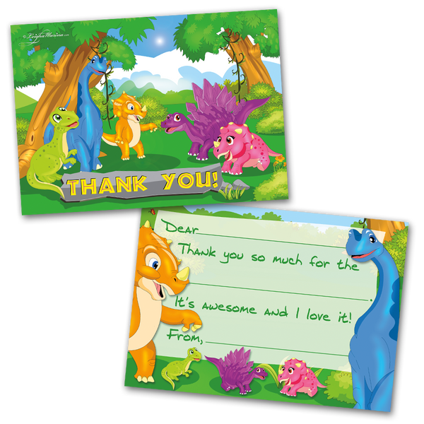 10 Kids Thank You Cards Dinosaur Themed and 10 Envelopes