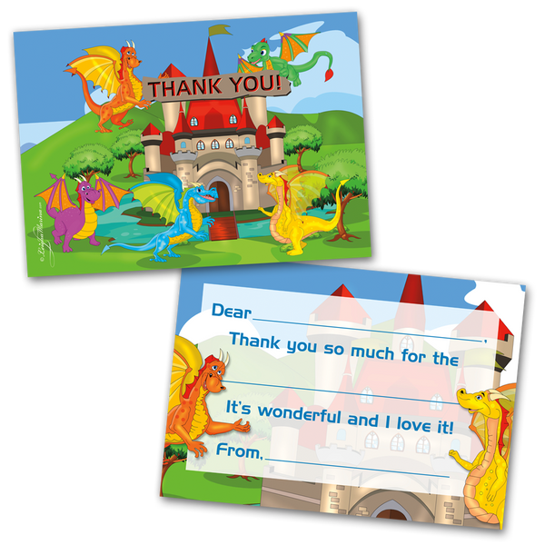 10 Kids Thank You Cards Dragons Themed and 10 Envelopes