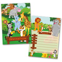 20 Kids Party Invitation Cards Jungle Animals Themed and 20 Envelopes