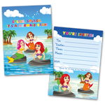 20 Kids Party Invitation Cards Mermaid Bash and 20 Envelopes
