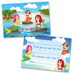 10 Kids Thank You Cards Mermaid Bash and 10 Envelopes