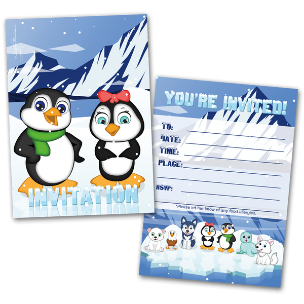 20 Kids Party Invitation Cards Penguin Themed and 20 Envelopes