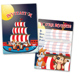 20 Kids Party Invitation Cards Animal Pirates Themed and 20 Envelopes