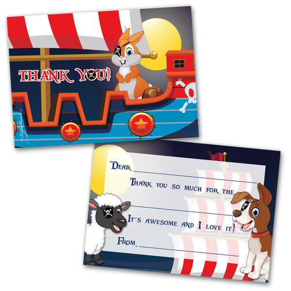10 Kids Thank You Cards Animal Pirates Themed and 10 Envelopes