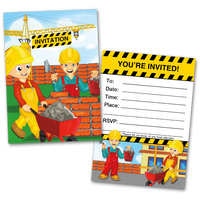 20 Kids Party Invitation Cards Construction Themed and 20 Envelopes