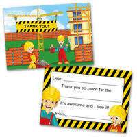 10 Kids Thank You Cards Construction Themed and 10 Envelopes