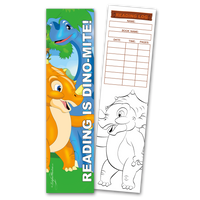 30 Dinosaurs 'Reading is Dino-Mite!' Coloring Bookmarks with Reading Logs