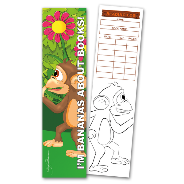 30 Monkey 'I'm Bananas About Books!' Coloring Bookmarks with Reading Logs